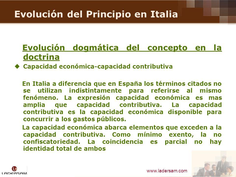 Evolución del Principio en Italia