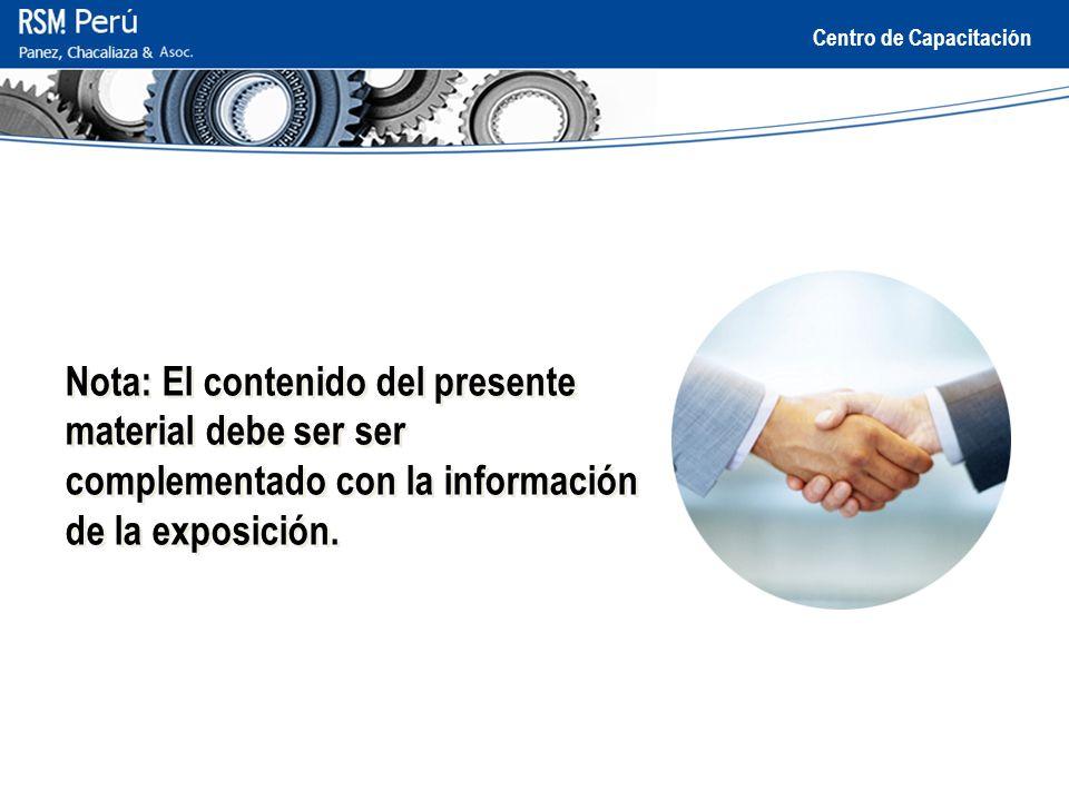 Nota: El contenido del presente material debe ser ser complementado con la información de la exposición.