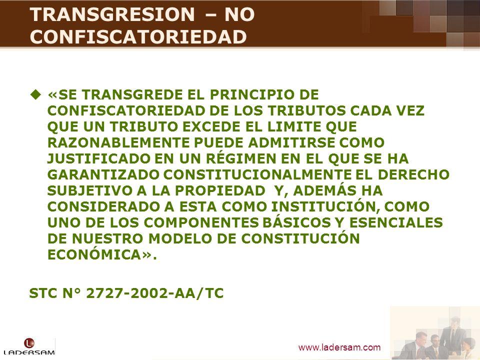 TRANSGRESION – NO CONFISCATORIEDAD