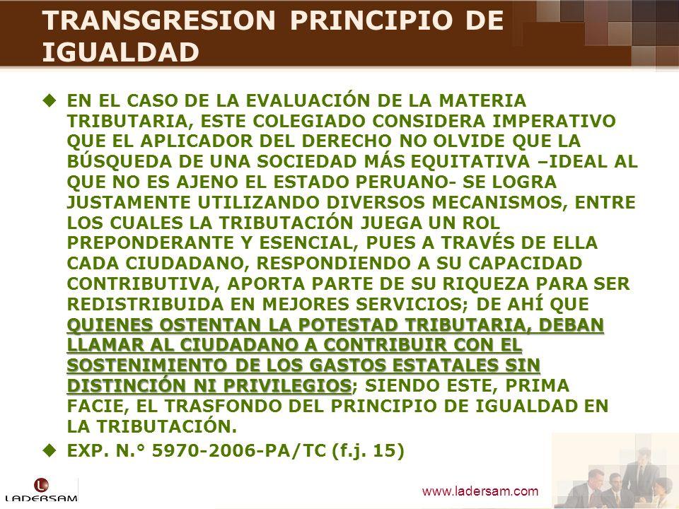 TRANSGRESION PRINCIPIO DE IGUALDAD