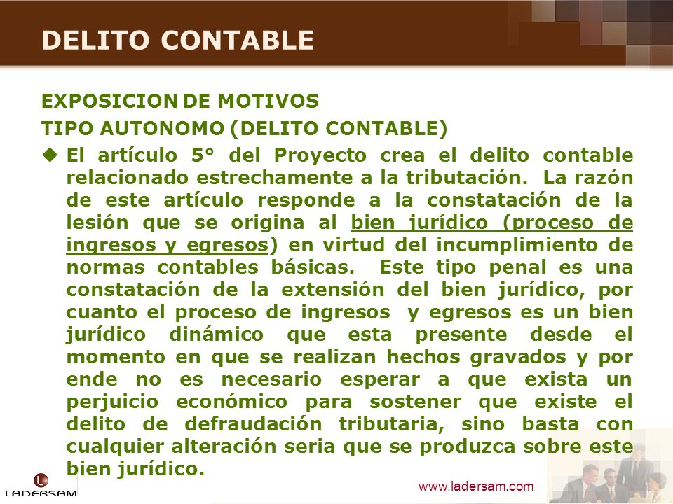 DELITO CONTABLE EXPOSICION DE MOTIVOS TIPO AUTONOMO (DELITO CONTABLE)