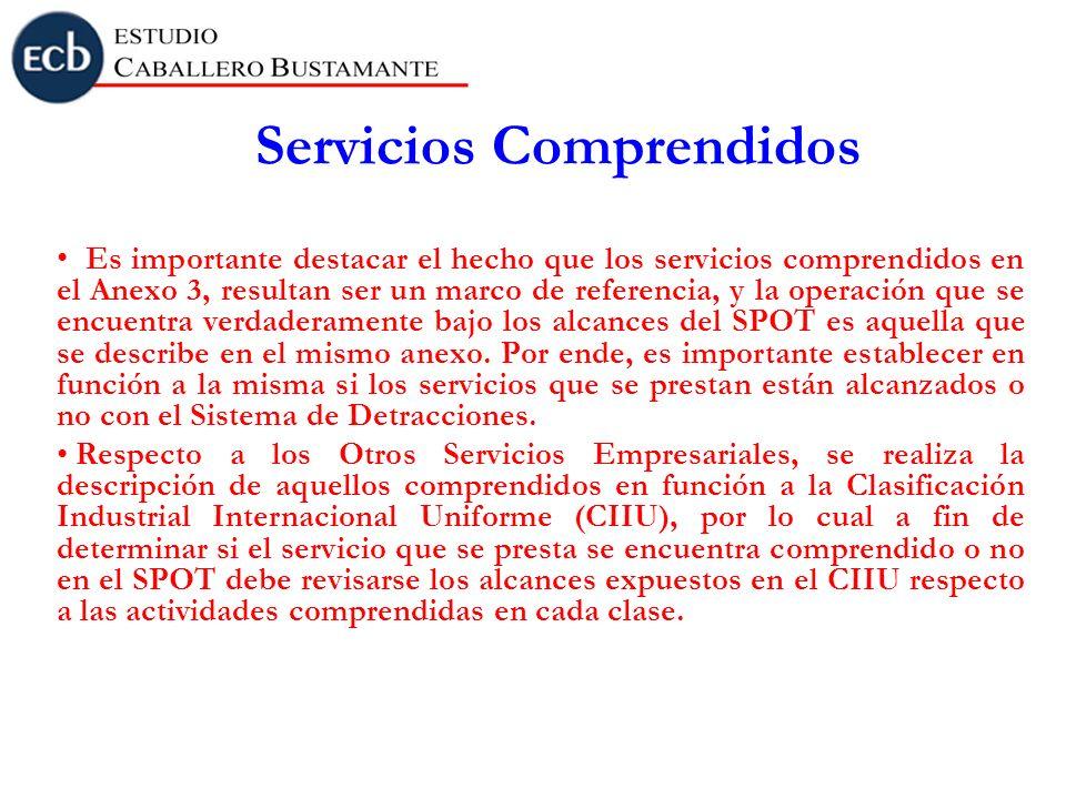 Servicios Comprendidos