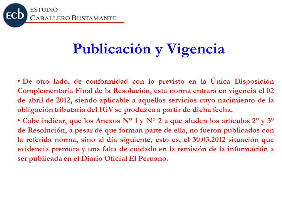 Publicación y Vigencia