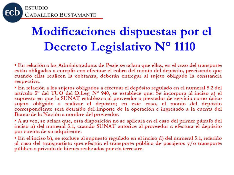 Modificaciones dispuestas por el Decreto Legislativo N° 1110