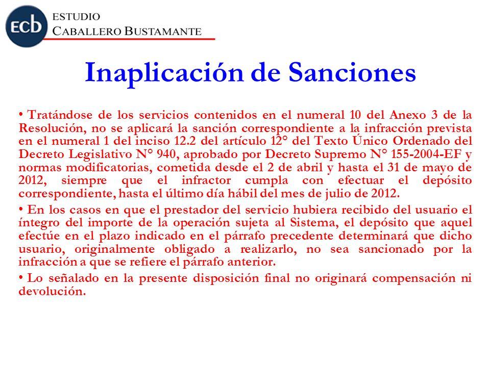 Inaplicación de Sanciones