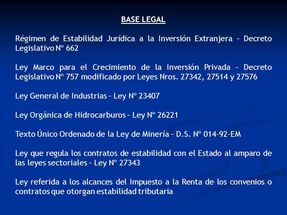 BASE LEGAL Régimen de Estabilidad Jurídica a la Inversión Extranjera – Decreto Legislativo Nº 662.