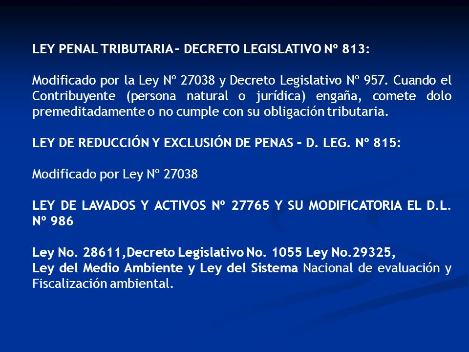 LEY PENAL TRIBUTARIA – DECRETO LEGISLATIVO Nº 813: