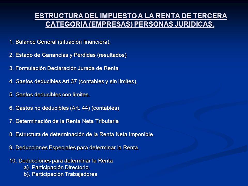 ESTRUCTURA DEL IMPUESTO A LA RENTA DE TERCERA CATEGORIA (EMPRESAS) PERSONAS JURIDICAS.