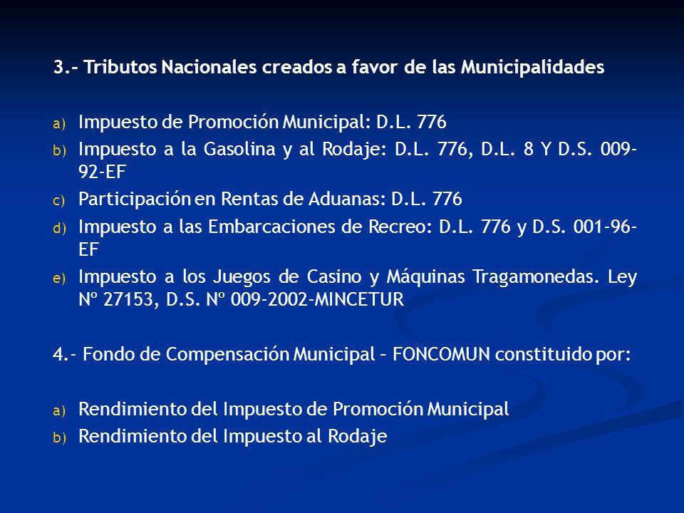 3.- Tributos Nacionales creados a favor de las Municipalidades