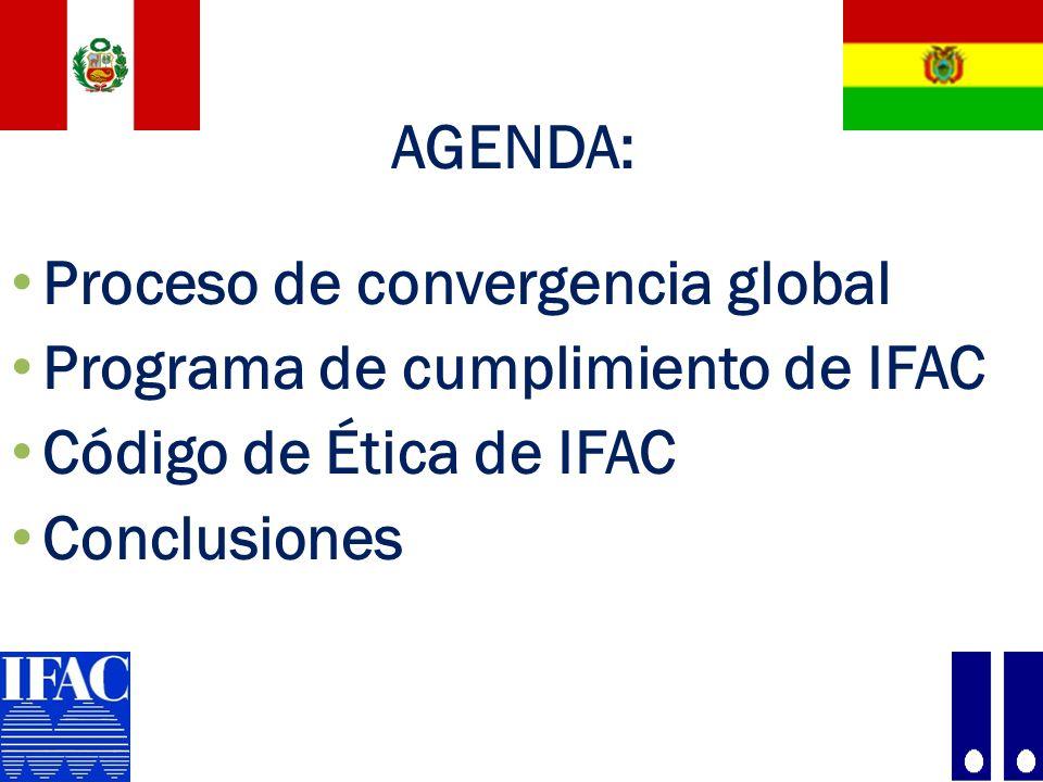 AGENDA: Proceso de convergencia global. Programa de cumplimiento de IFAC. Código de Ética de IFAC.