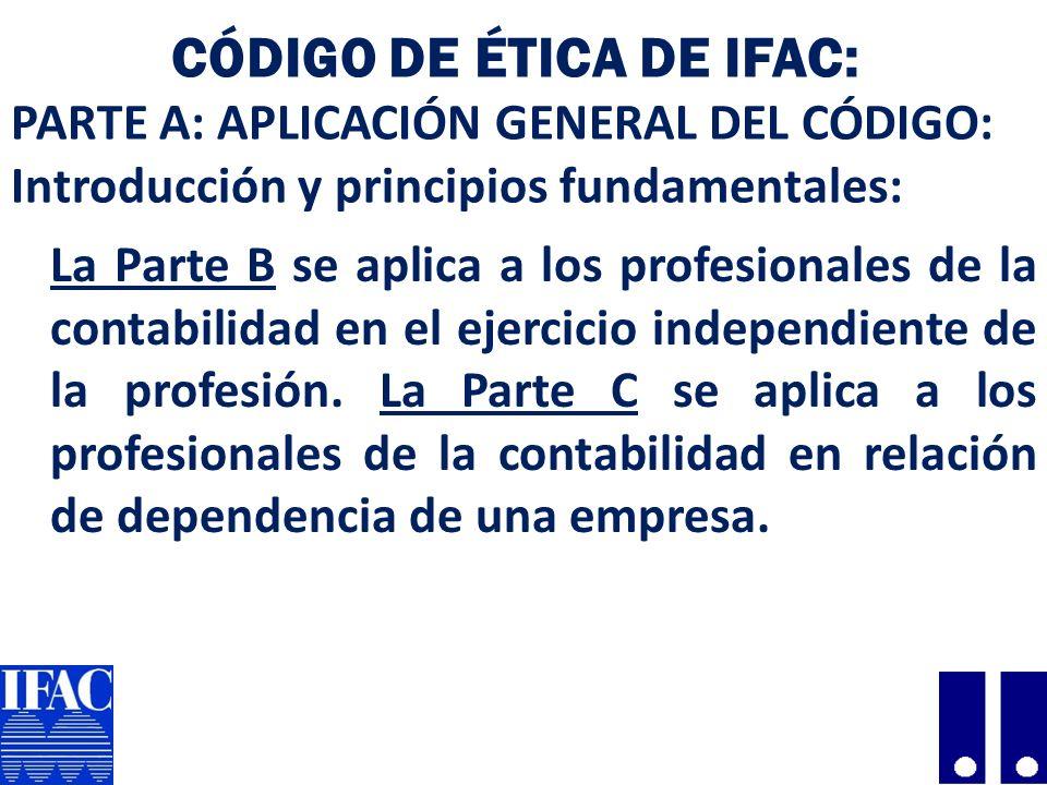 Código de Ética de IFAC: PARTE A: APLICACIÓN GENERAL DEL CÓDIGO: Introducción y principios fundamentales: