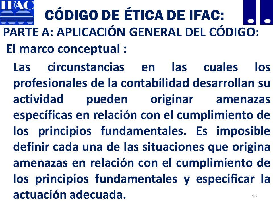Código de Ética de IFAC: PARTE A: APLICACIÓN GENERAL DEL CÓDIGO: El marco conceptual :