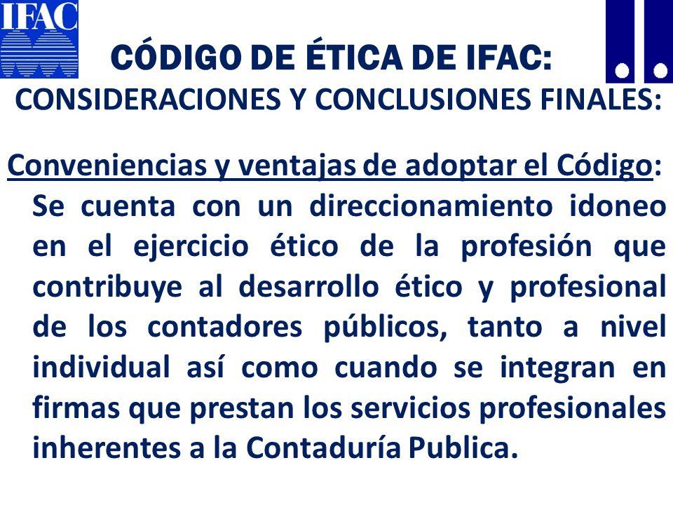 Código de Ética de IFAC: CONSIDERACIONES Y CONCLUSIONES FINALES: