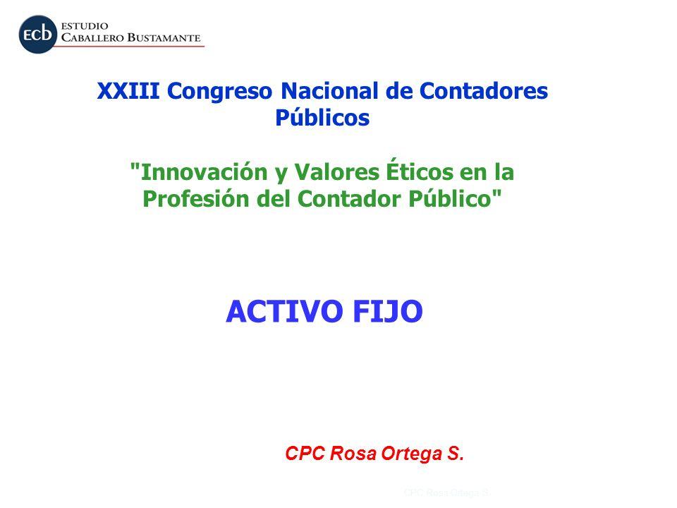 ACTIVO FIJO XXIII Congreso Nacional de Contadores Públicos