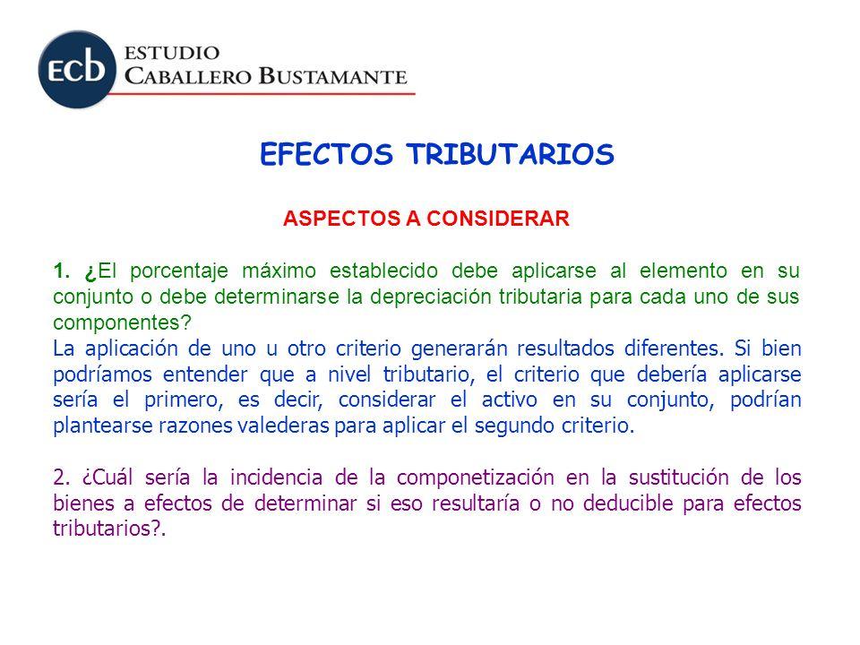 EFECTOS TRIBUTARIOS ASPECTOS A CONSIDERAR