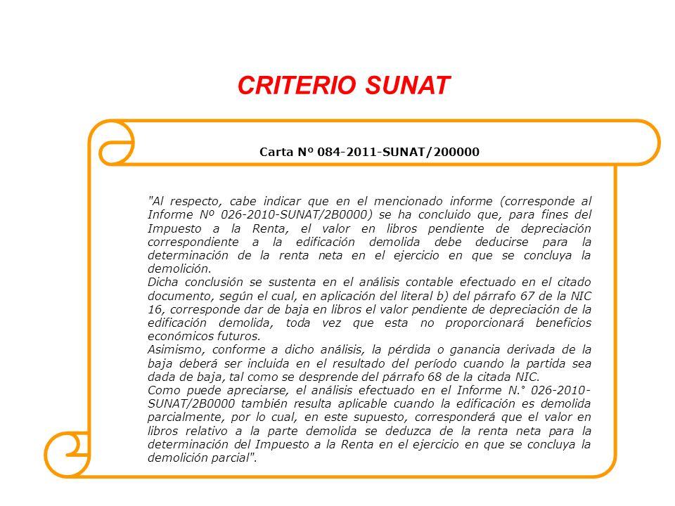 CRITERIO SUNAT Carta Nº 084-2011-SUNAT/200000