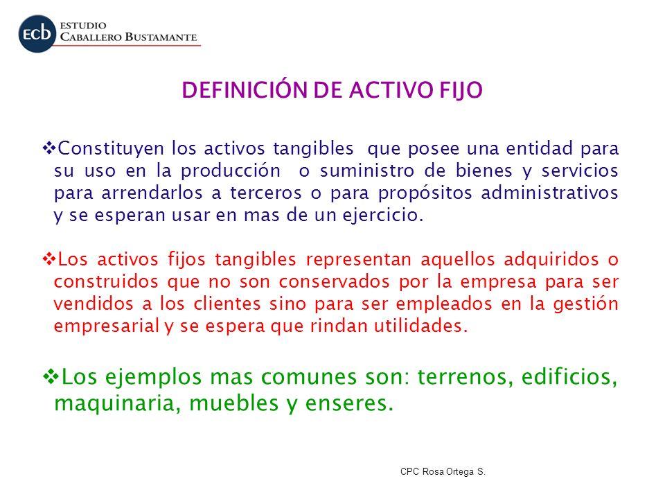 DEFINICIÓN DE ACTIVO FIJO