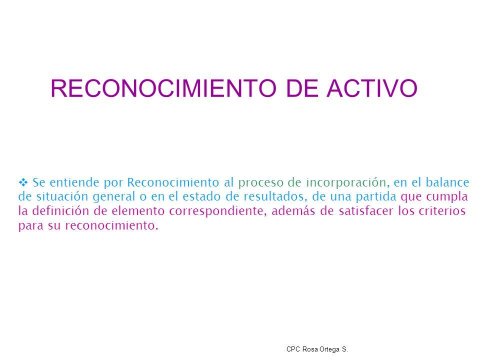 RECONOCIMIENTO DE ACTIVO