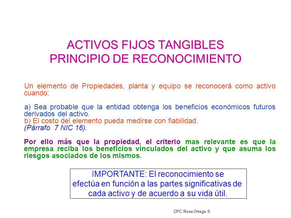 ACTIVOS FIJOS TANGIBLES PRINCIPIO DE RECONOCIMIENTO
