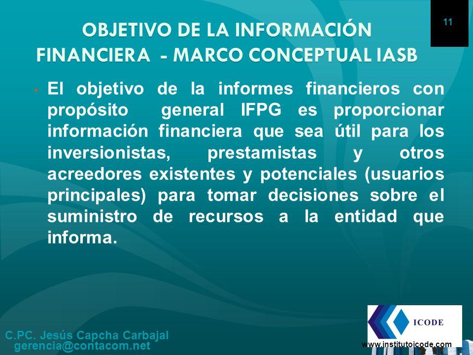 OBJETIVO DE LA INFORMACIÓN FINANCIERA - MARCO CONCEPTUAL IASB
