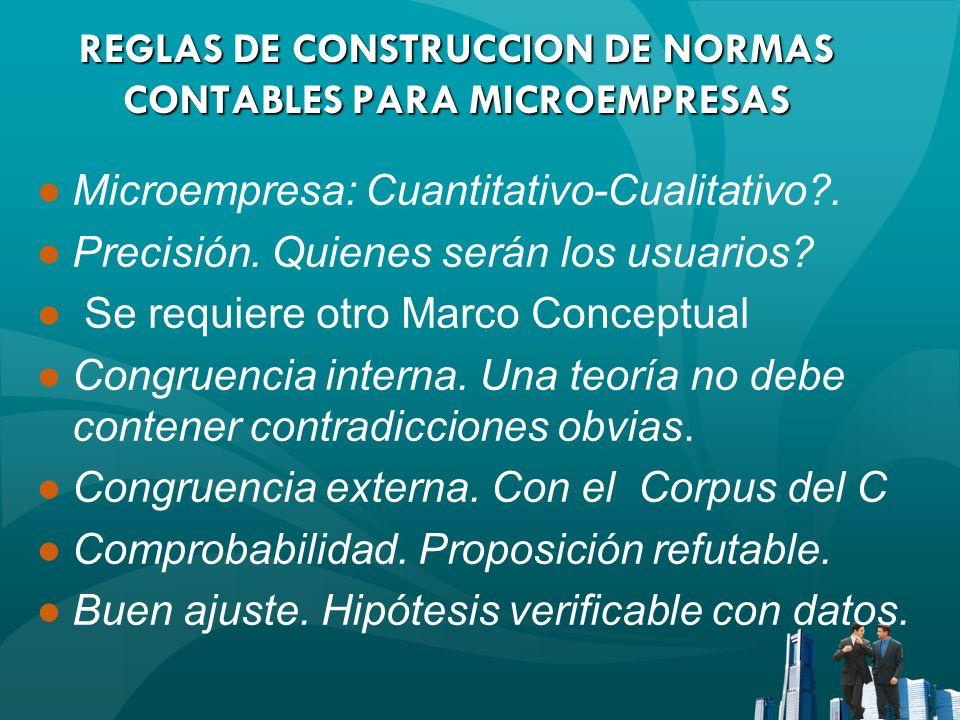 REGLAS DE CONSTRUCCION DE NORMAS CONTABLES PARA MICROEMPRESAS