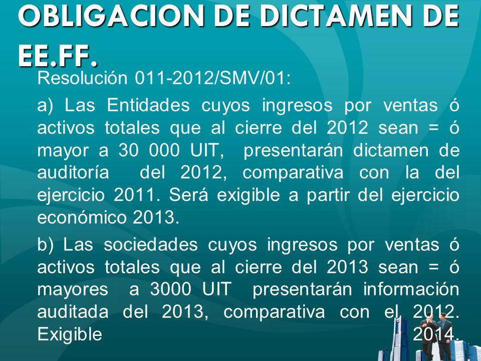 OBLIGACION DE DICTAMEN DE EE.FF.
