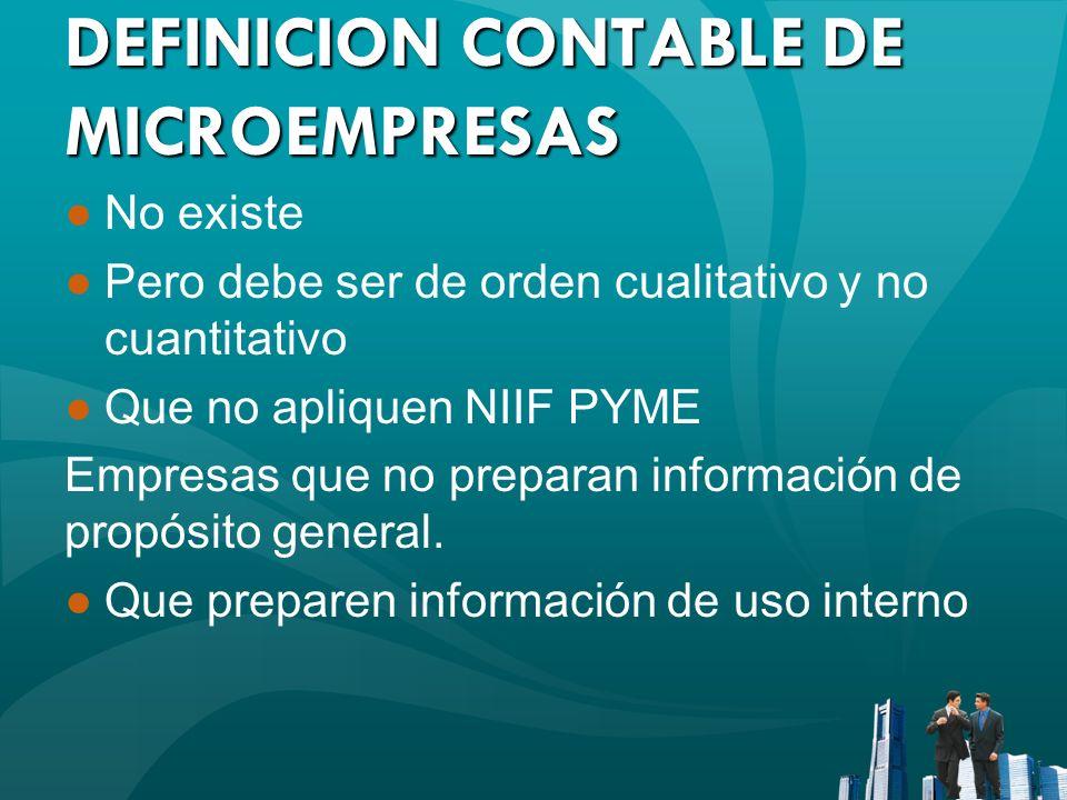DEFINICION CONTABLE DE MICROEMPRESAS