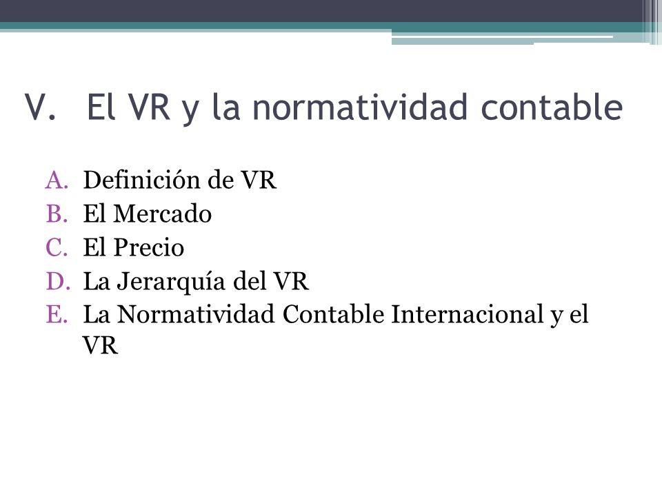 El VR y la normatividad contable