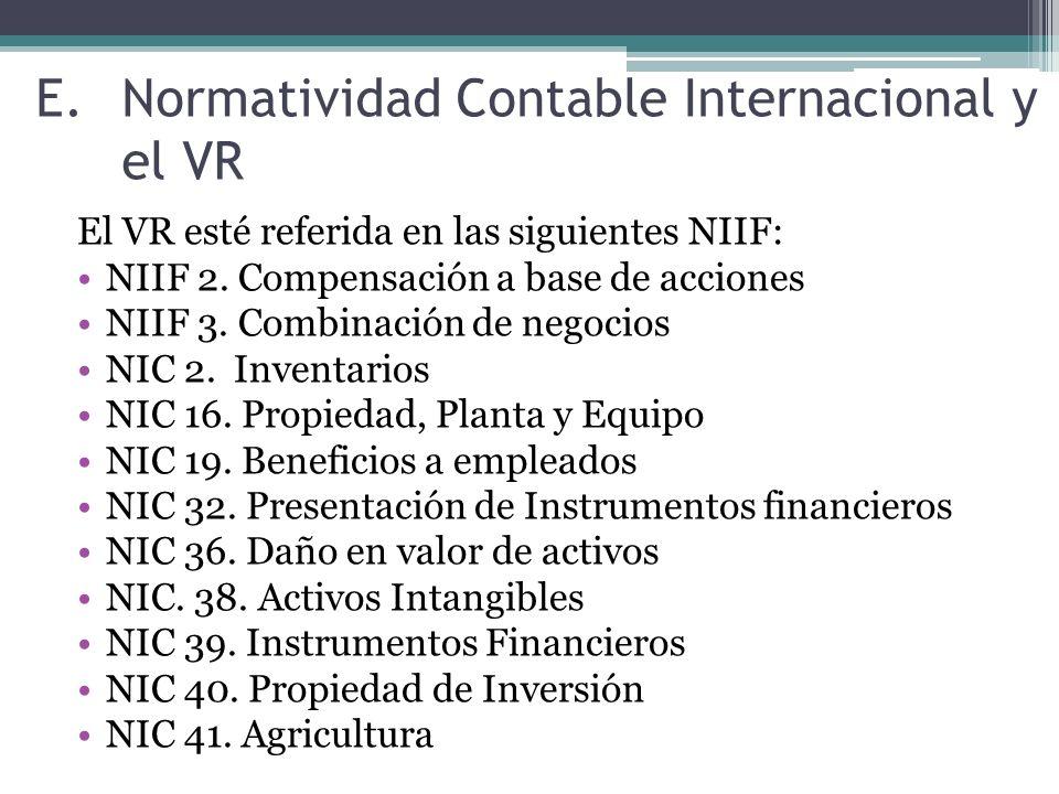 Normatividad Contable Internacional y el VR