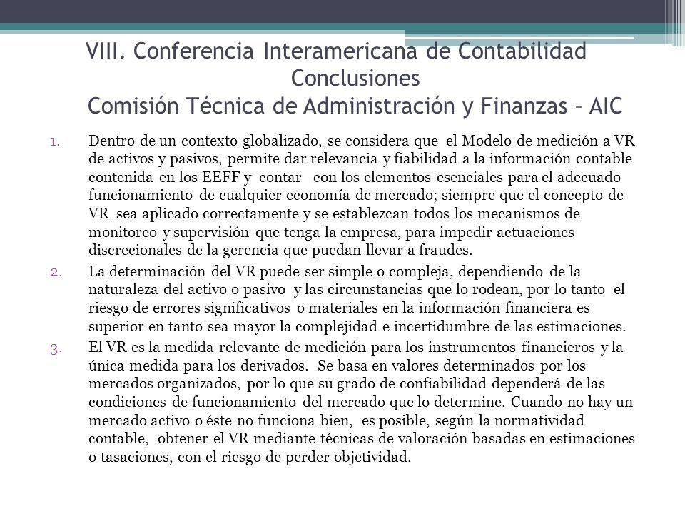 Conferencia Interamericana de Contabilidad Conclusiones Comisión Técnica de Administración y Finanzas – AIC