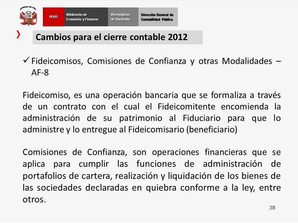 Cambios para el cierre contable 2012
