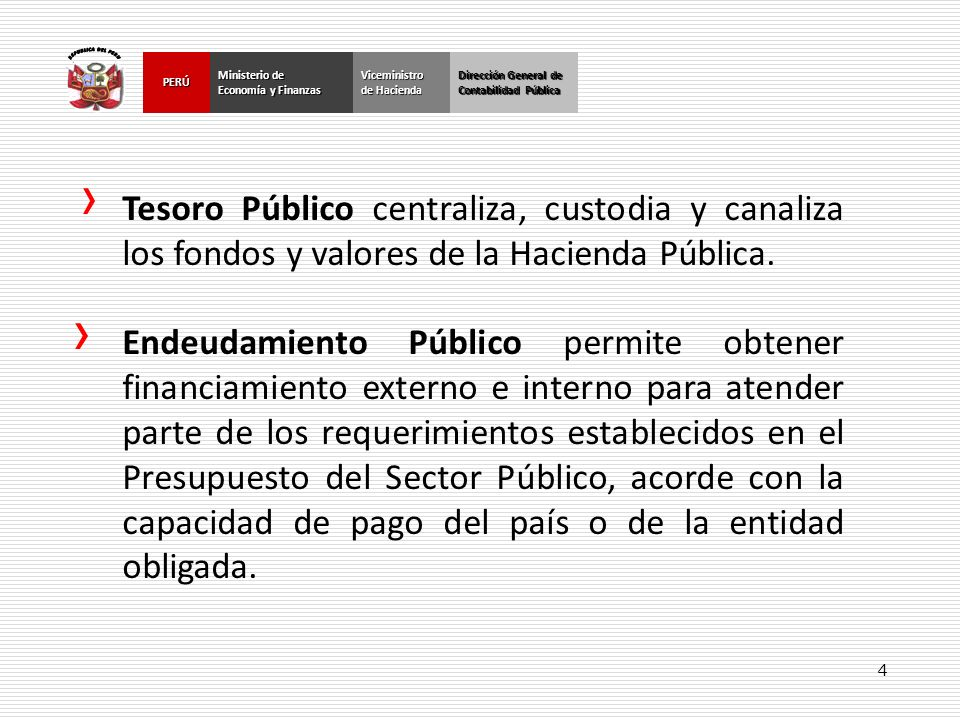 REPUBLICA DEL PERU Dirección General de. Contabilidad Pública. Ministerio de. Economía y Finanzas.