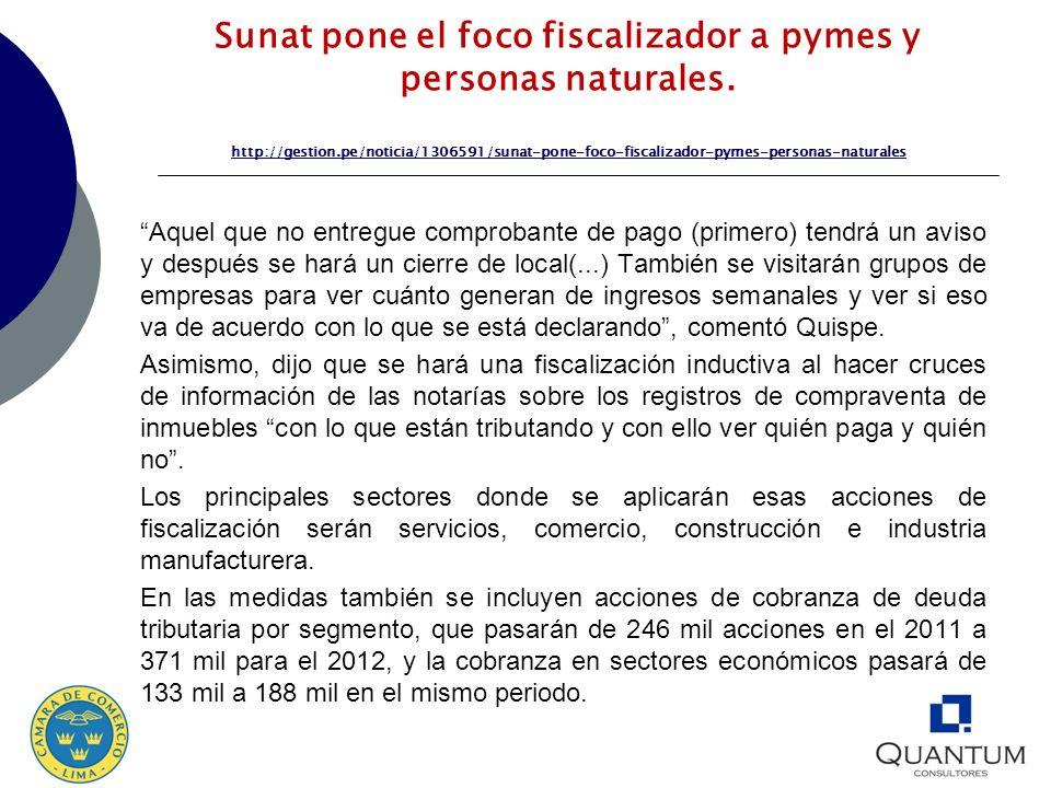 Sunat pone el foco fiscalizador a pymes y personas naturales