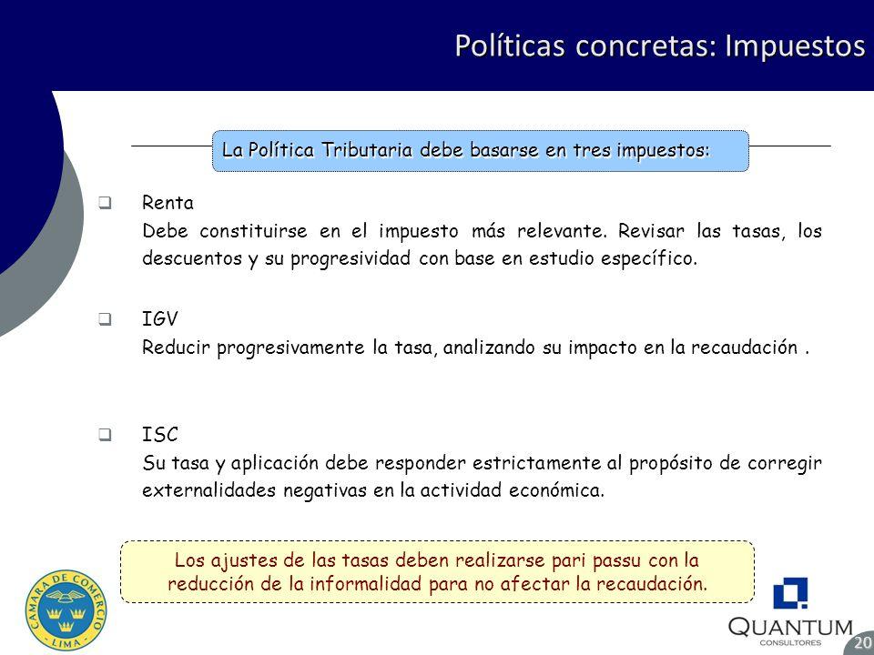 Políticas concretas: Impuestos