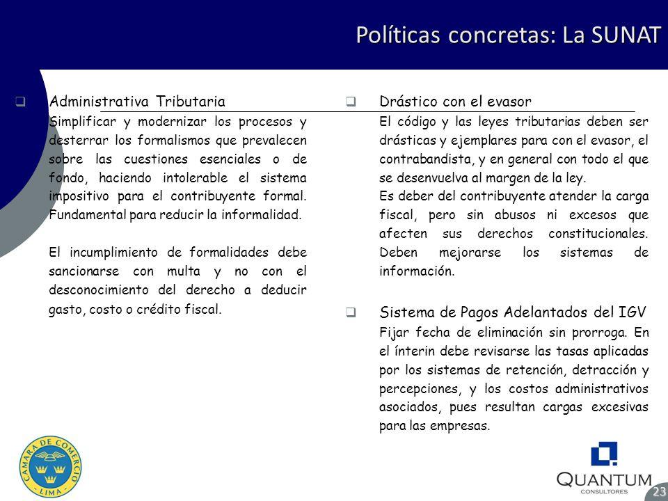 Políticas concretas: La SUNAT