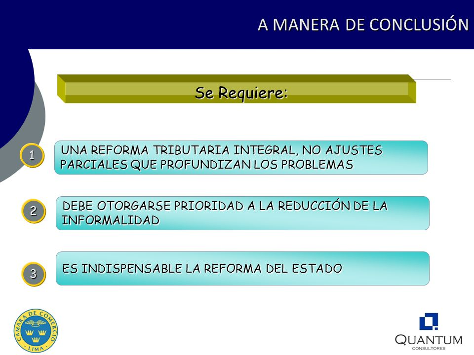 A MANERA DE CONCLUSIÓN Se Requiere: