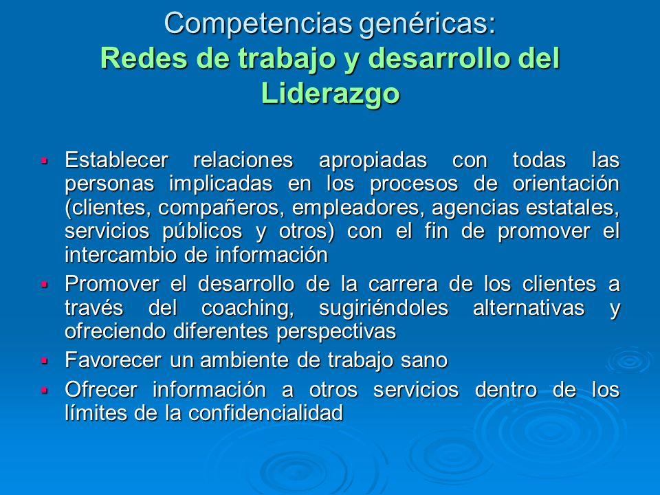 Competencias genéricas: Redes de trabajo y desarrollo del Liderazgo