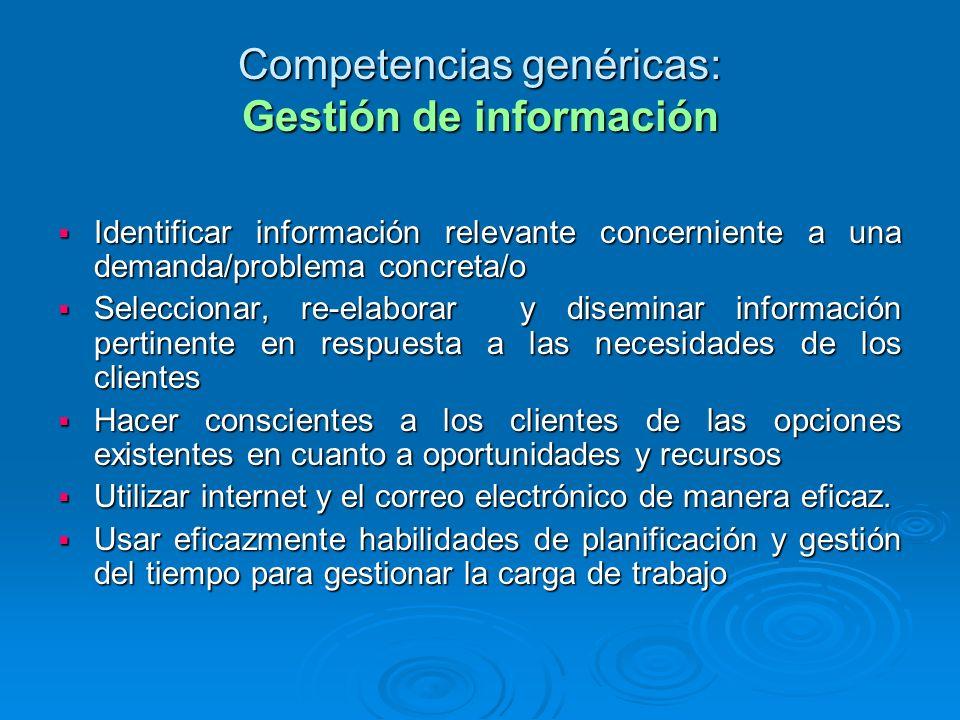 Competencias genéricas: Gestión de información