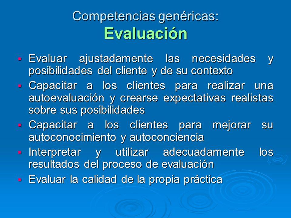Competencias genéricas: Evaluación