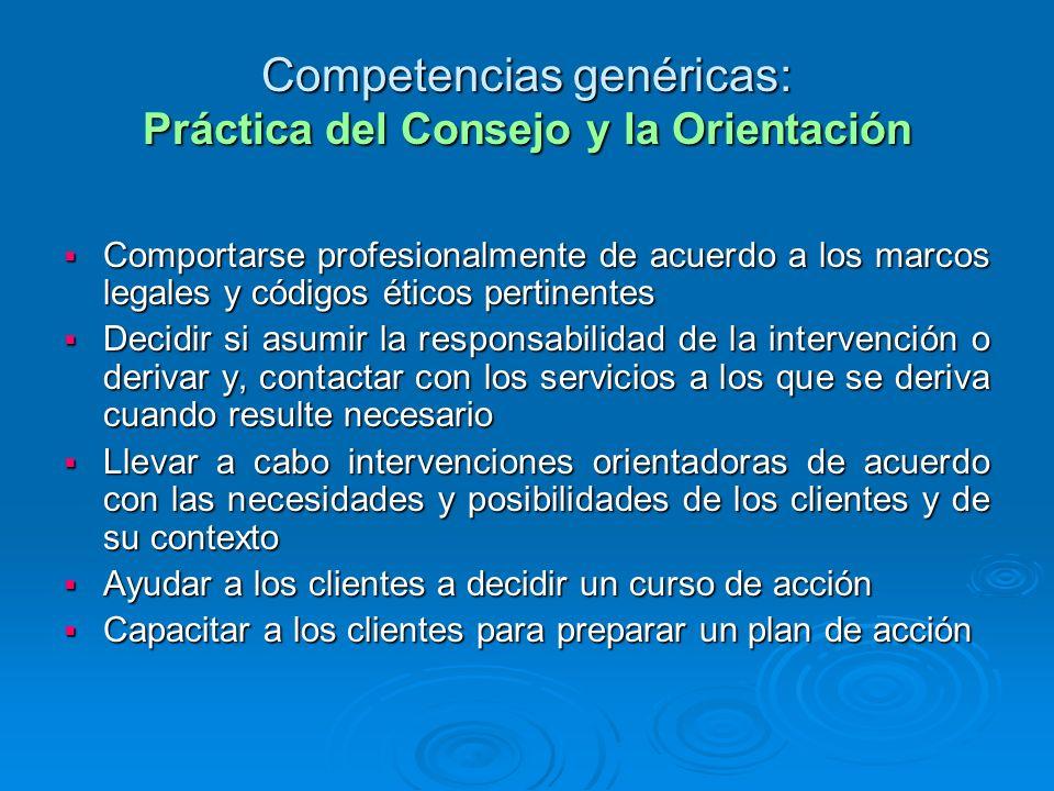 Competencias genéricas: Práctica del Consejo y la Orientación