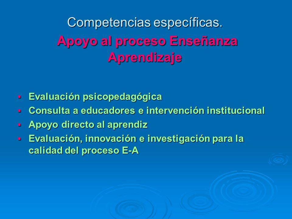 Competencias específicas. Apoyo al proceso Enseñanza Aprendizaje