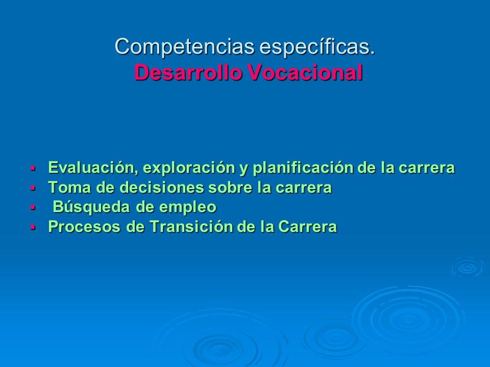 Competencias específicas. Desarrollo Vocacional