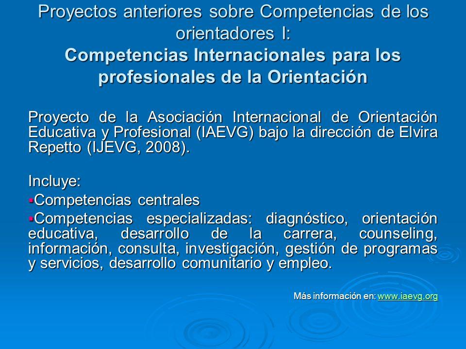 Proyectos anteriores sobre Competencias de los orientadores I: Competencias Internacionales para los profesionales de la Orientación