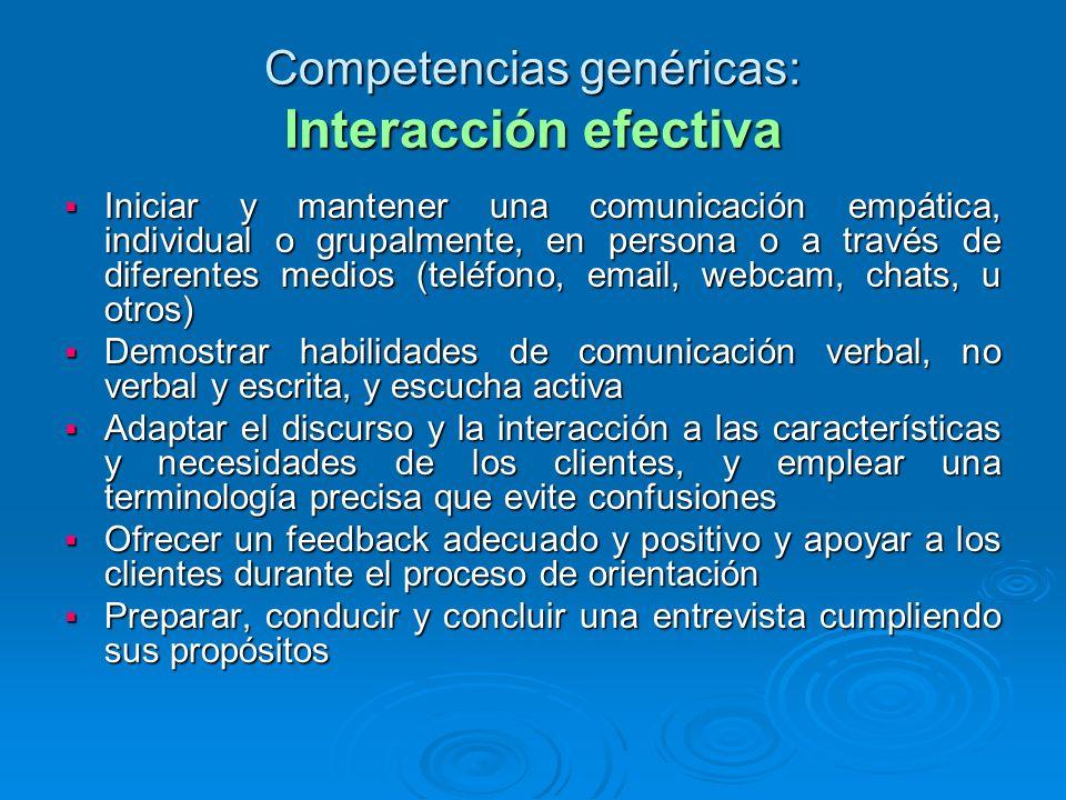 Competencias genéricas: Interacción efectiva