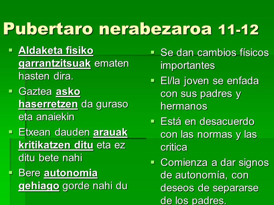 Pubertaro nerabezaroa 11-12