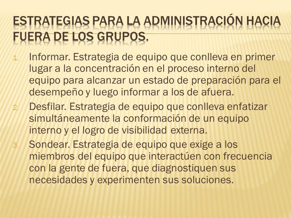 Estrategias para la administración hacia fuera de los grupos.