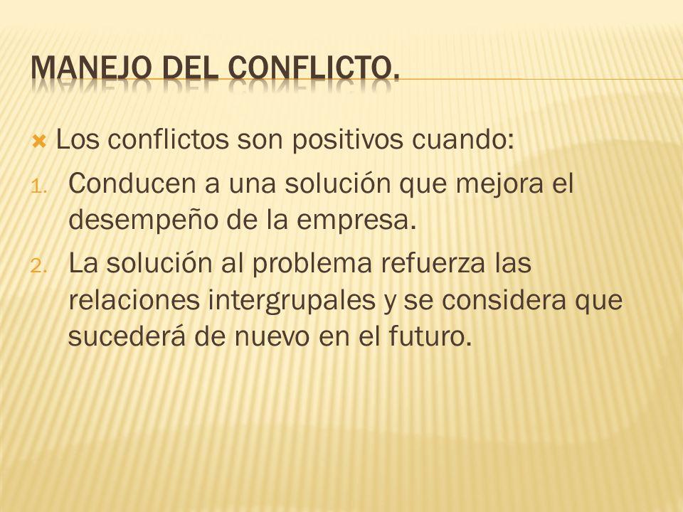 Manejo del conflicto. Los conflictos son positivos cuando: