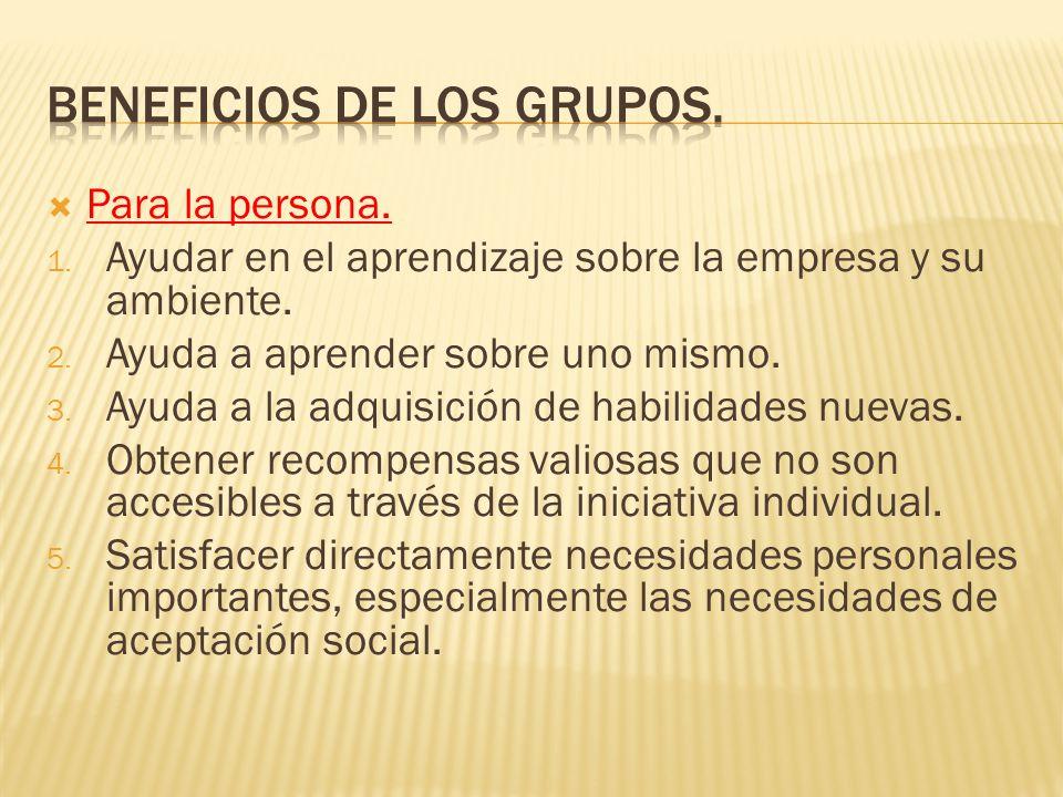 Beneficios de los grupos.