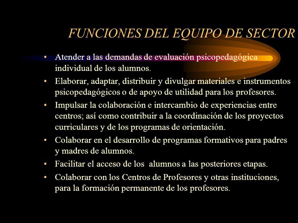 FUNCIONES DEL EQUIPO DE SECTOR