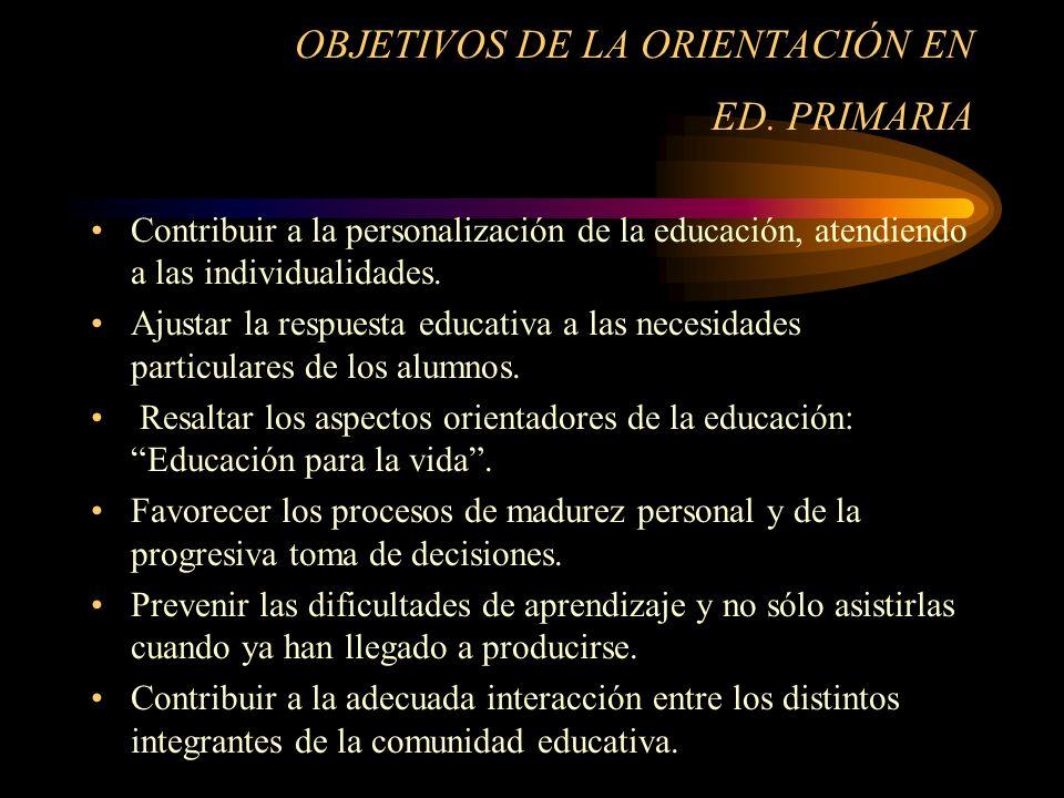 OBJETIVOS DE LA ORIENTACIÓN EN ED. PRIMARIA
